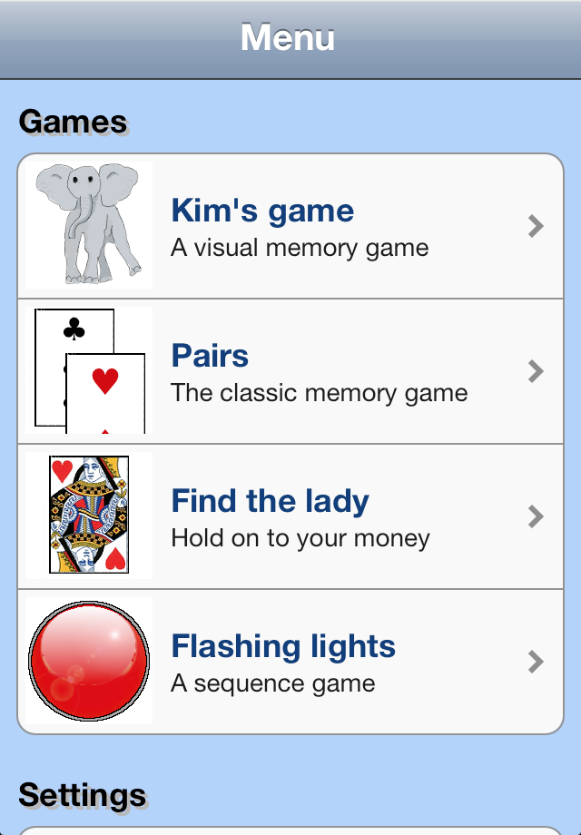 Screenshot elephant – games to test and improve your memory